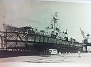 USS Sarsfield (DD-837) under repair, in the 1950s