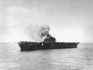 USS Yorktown (CV-5) burning after first Japanese attack at Midway 1942.jpg