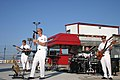 US Navy 051001-N-7163S-005 U.S. Navy Band Great Lakes' rock ensemble Horizon warms up the crowd at Elko Speedway's Military Appreciation Night.jpg