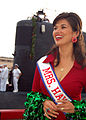 US Navy 060317-N-0879R-005 Mrs. Hawaii 2002, Helen Berger reacts to the friends and family members calling out to their loved ones aboard the Los Angeles-class submarine USS Columbia (SSN 771) as it returned to Pearl Harbor.jpg