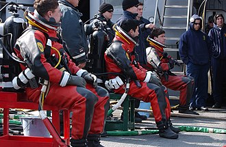 Dry suit - U.S. Navy divers in dry suits prepare to dive