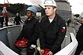 US Navy 060406-N-2385R-366 Boatswain's Mate Seaman Tiffany Dallas and Boatswain's Mate 2nd Class Corey S. Masterson operate the anchor brake system.jpg