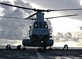 US Navy 070601-N-6710M-013 A CH-46 Sea Knight lands on the flight deck of USS Tortuga (LSD 46) during deck landing qualifications as the ship transits through Pioneer Channel.jpg