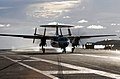 US Navy 070807-N-3729H-278 An E-2C Hawkeye, attached to the Golden Hawks of Carrier Airborne Early Warning Squadron (VAW) 112, lands on the flight deck.jpg