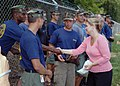 US Navy 070811-N-3093M-016 Minnesota Senator, Julianne E. Ortman personally thanks Navy Diver 1st Class Clarence Allen of Mobile Diving and Salvage Unit (MDSU) 2 for his efforts in the wake of the I-35 bridge collapse.jpg