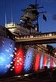 US Navy 080718-N-0879R-012 Red, white and blue lights illuminate the port side of the battleship Missouri Memorial for the Navy Great White Fleet Centennial celebration.jpg