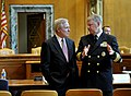 US Navy 090602-N-8273J-010 Chief of Naval Operations (CNO) Adm. Gary Roughead speaks with Secretary of the Navy (SECNAV) the Honorable Ray Mabus prior to appearing before the Senate Appropriations Committee for Defense.jpg