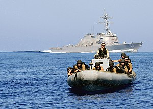 Operation Allied Protector - Image: US Navy 090706 N 9999X 001 A visit, board, search and seizure team from the guided missile destroyer USS Laboon (DDG 58) conducts training in preparation for Operation Allied Protector, NATO's counter piracy operation