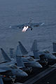 US Navy 090817-N-5586R-033 An F-A-18E Super Hornet, assigned to the Eagles of Strike Fighter Squadron (VFA) 115 launches off of the flight deck of the aircraft carrier USS Ronald Reagan (CVN 76).jpg