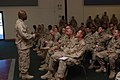 US Navy 091030-N-5688F-037 hief Petty Officer Quincy Jackson gives a briefing on sexual assault victim intervention.jpg