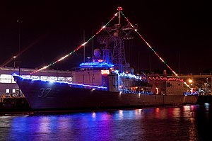 US Navy 111220-N-WP746-004 The guided-missile frigate USS Crommelin (FFG 37) is decorated with Christmas lights at Joint Base Pearl Harbor-Hickam.jpg