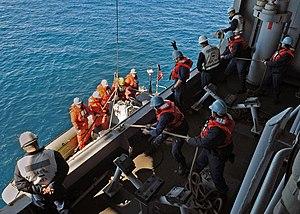 US Navy 120213-N-ZZ999-031 Boatswain's mates aboard the multipurpose amphibious assault ship USS Iwo Jima (LHD 7) hoist a rigid hull inflatable boa.jpg