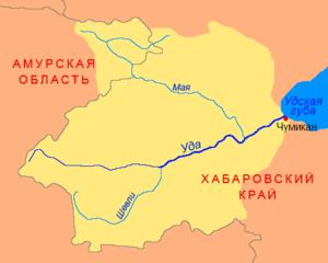 Uda River (Khabarovsk Krai) - Map of the Uda River