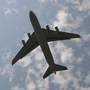 English: Flying An-124 airplane, Ulyanovsk-200...