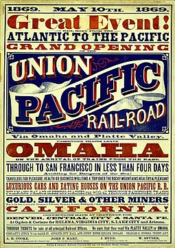 Poster for the Union Pacific Railroad's opening-day, 1869. Union pacific poster.jpg