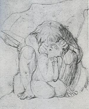 Ahania - Urizen destroying Ahania; pencil study by Blake for The Book of Ahania.