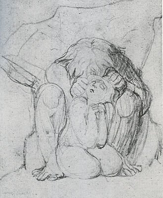 The Book of Ahania - Blake's pencil sketch for the above plate. Note that the image is reversed by the printing process