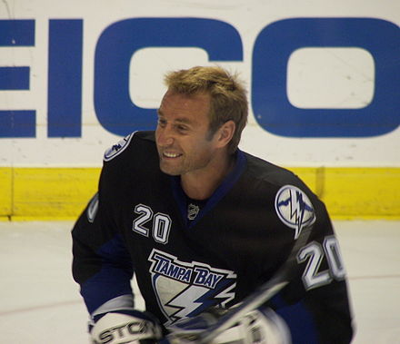 Vaclav Prospal with the Lightning in 2007. Prior to the 2007 NHL trade deadline, the Lightning traded Prospal to the Philadelphia Flyers in exchange for Alexandre Picard and a conditional draft pick. Vaclav Prospal 2007.jpg