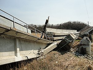 A railroad overpass in Futaba destroyed by the...