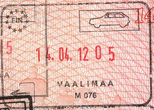 Vaalimaa - Passport stamp from the border checkpoint