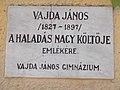 Vajda János emléktábla, Kossuth tér, 2017 Bicske.jpg