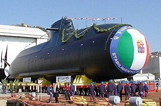 Type 212 submarine - Todaro in dock at Fincantieri, Muggiano.