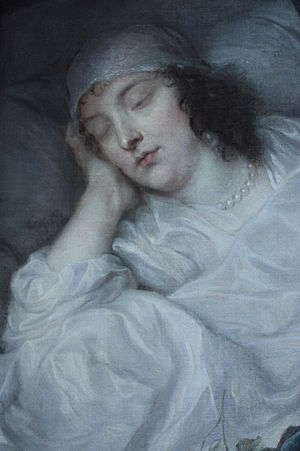 Kenelm Digby - Venetia Stanley on her Death Bed by Anthony van Dyck, 1633, Dulwich Picture Gallery