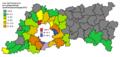 Verkiezingen provincieraad Vlaams-Brabant 2012 - uitslag per gemeente - Union des Francophones.png