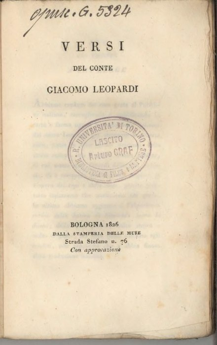 First edition of Canti by Leopardi Versi del conte Giacomo Leopardi.djvu