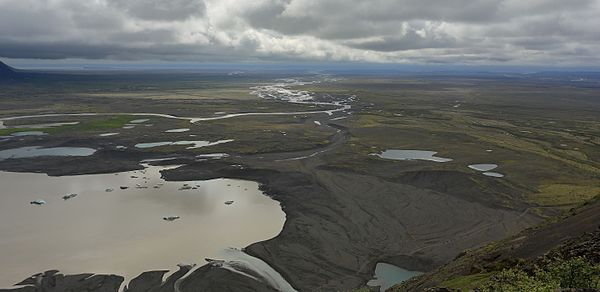 View from Skaftafell National Park, Iceland. The Skaftafellsheiði plateau provides a picturesque view of River Skeiðará and Skeiðarársandur