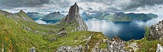 Geography of Norway - View from a ridge between Segla and Hesten, Senja, Norway