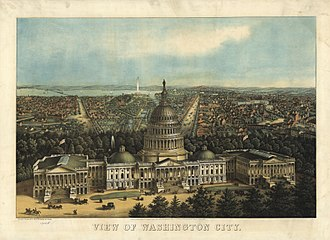 Chesapeake and Ohio Canal - Low-angle bird's-eye view of central Washington toward the west and northwest with The Capitol in foreground. The Canal is visible running along the mall.