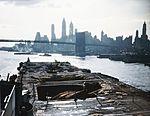 View of the wrecked flight deck aft of USS Franklin (CV-13) off Manhattan on 28 April 1945.jpg