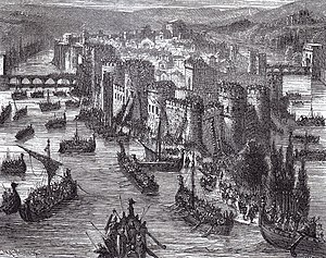 Viking long ships besieging Paris (845) Viking Siege of Paris.jpg
