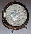 Vintage Mother Of Pearl Powder Compact With Oriental Design, 3 Inches in Diameter (11913027713).jpg