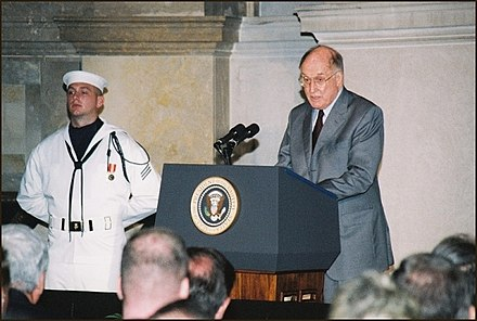Rehnquist at the National Archives Rotunda in 2003 Visit reopening rehnquist 600.jpg
