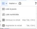 VisualEditor Toolbar Lists and indentation-fr.png