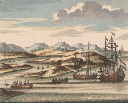 Willem de Vlamingh's ships, with black swans, at the entrance to the Swan River, Western Australia, coloured engraving (1796), derived from an earlier drawing (now lost) from the de Vlamingh expeditions of 1696–97