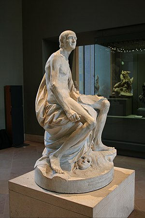 Statue of Voltaire naked by Pigalle, Louvre Museum