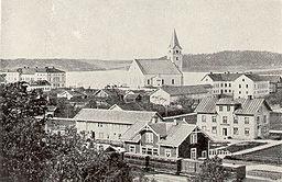 Vy over byen Lindesberg omkring år 1870