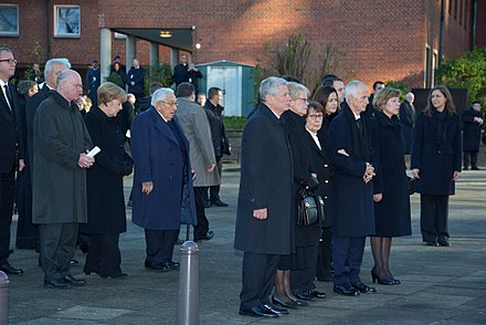 Angela Merkel and Kissinger were at the state funeral for former German Chancellor Helmut Schmidt, November 23, 2015 WDK 6198 07.JPG