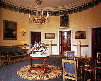 White House Historical Association - The White House Blue Room refurbished in 1995 with contributions from the White House Historical Association's White House Endowment Trust.