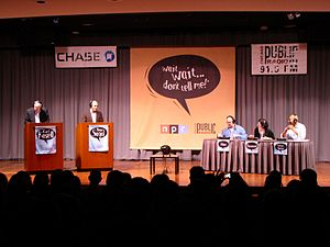 Panel show - A recording of radio panel show Wait Wait... Don't Tell Me!, featuring, from left, announcer and scorekeeper Carl Kasell; host Peter Sagal; and panelists Adam Felber, Roxanne Roberts and Keegan-Michael Key before a live audience.