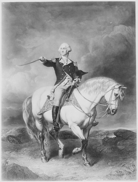 File:Washington Receiving a Salute on the Field of Trenton. 1776. Copy of print by William Holl after John Faed, published ci - NARA - 532914.tif