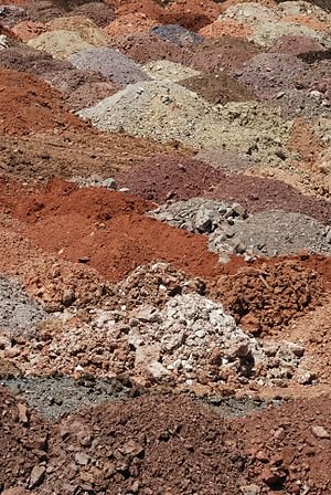 Piles of soil with various compositions used f...