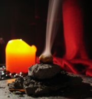 Indirect burning frankincense on a hot coal