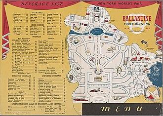 Eitel Brothers - Image: Weltausstellung New York 1939 1940, Speisekarte des Ballentine Three Ring Inn mit Plan, 01