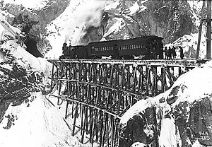 White Pass and Yukon Route - First train headed to White Pass, 1899