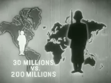 "A black-and-white screenshot of an image of a world map. Above the United States is a figure of a white soldier, and above Asia is a larger black soldier. Text at the bottom-left of the image states ""30 Millions vs. 200 Millions""."
