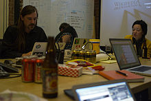 Wikimedia Foundation SOPA War Room Meeting AFTER BLACKOUT 1-17-2012-1-4.jpg